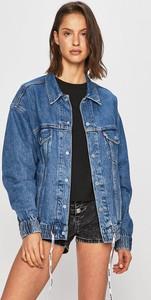 Niebieska kurtka Levis krótka z jeansu w stylu casual