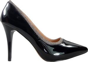 Czarne szpilki Kokietki na szpilce ze spiczastym noskiem ze skóry ekologicznej