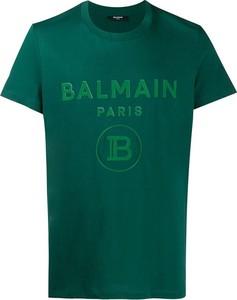 Zielony t-shirt Balmain w młodzieżowym stylu z okrągłym dekoltem z bawełny