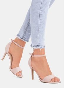 ac6ee51a Różowe sandały DeeZee na szpilce z klamrami