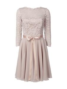 Sukienka Swing z długim rękawem z szyfonu z okrągłym dekoltem