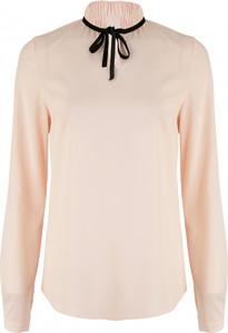 Różowa bluzka Nife z okrągłym dekoltem z długim rękawem