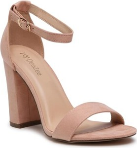 Różowe sandały DeeZee na obcasie z klamrami