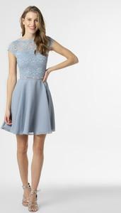 Niebieska sukienka Swing z okrągłym dekoltem z szyfonu z krótkim rękawem