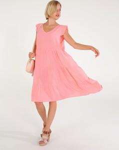 Sukienka Unisono z okrągłym dekoltem z tkaniny