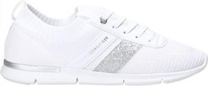 Buty sportowe Tommy Hilfiger sznurowane z płaską podeszwą ze skóry ekologicznej