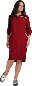 Sukienka Artmio z długim rękawem z kołnierzykiem midi