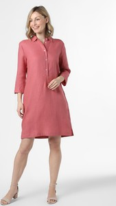 Różowa sukienka Apriori z długim rękawem trapezowa z lnu