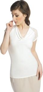 Bluzka Fokus w street stylu z dekoltem woda z krótkim rękawem