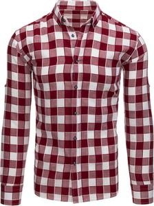 Czerwona koszula Dstreet z klasycznym kołnierzykiem w stylu casual z długim rękawem