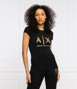 Czarna bluzka Armani Exchange z krótkim rękawem z okrągłym dekoltem