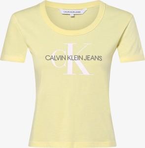 Żółty t-shirt Calvin Klein z okrągłym dekoltem