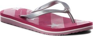 Fioletowe sandały Tommy Hilfiger w sportowym stylu z płaską podeszwą