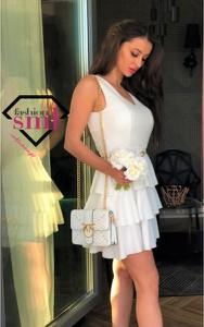 Sukienka Smlfashion.pl z dekoltem w kształcie litery v z tkaniny