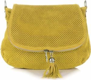 Żółta torebka GENUINE LEATHER ze skóry przez ramię z frędzlami