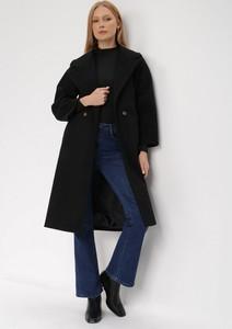Czarny płaszcz born2be długi w stylu casual bez kaptura