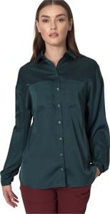 Zielona koszula Nife w stylu casual z satyny