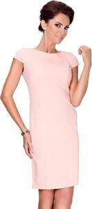 Różowa sukienka NUMOCO z okrągłym dekoltem ołówkowa