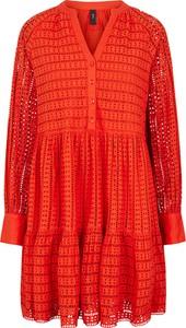 Czerwona sukienka Y.A.S w stylu casual z bawełny z długim rękawem