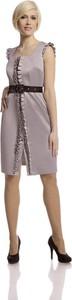 Srebrna sukienka Fokus dopasowana bez rękawów w stylu klasycznym