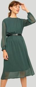 Zielona sukienka Greenpoint midi z szyfonu z długim rękawem