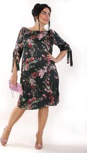 Sukienka Oscar Fashion midi hiszpanka z długim rękawem
