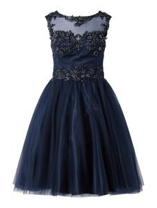 Granatowa sukienka Niente rozkloszowana mini z satyny