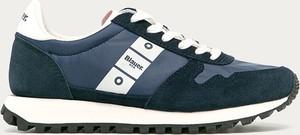 Czarne buty sportowe Blauer Usa z płaską podeszwą z zamszu sznurowane