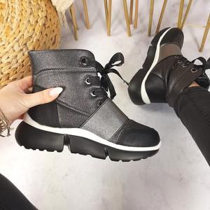 Czarne buty sportowe sklep-szpilka24 sznurowane z płaską podeszwą