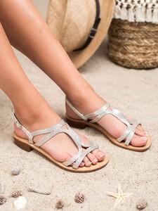 Srebrne sandały Czasnabuty z płaską podeszwą z klamrami