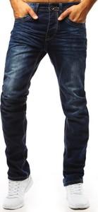 Niebieskie jeansy Dstreet w street stylu z bawełny