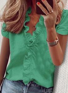 Zielona bluzka Sandbella z krótkim rękawem z bawełny