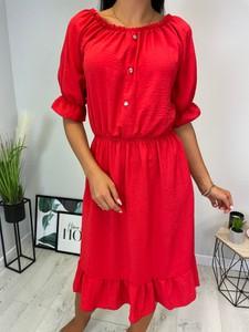 Czerwona sukienka ModnaKiecka.pl z okrągłym dekoltem w stylu casual