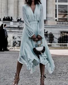 Sukienka Kendallme z długim rękawem w stylu boho trapezowa