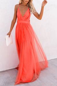 Czerwona sukienka IVET z dekoltem w kształcie litery v maxi