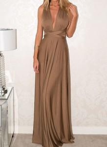 Brązowa sukienka Cikelly maxi gorsetowa z dekoltem w kształcie litery v