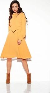 Żółta sukienka Lemoniade z żabotem z długim rękawem