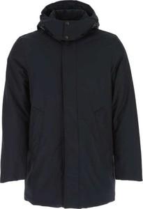 Niebieska kurtka Woolrich długa w stylu casual