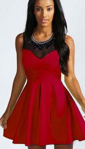 Czerwona sukienka Estera mini rozkloszowana