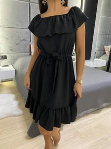 Czarna sukienka ModnaKiecka.pl z krótkim rękawem