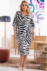 Sukienka KARKO z długim rękawem w stylu casual midi