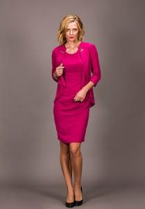 Różowa sukienka Risca z szyfonu z długim rękawem dla puszystych
