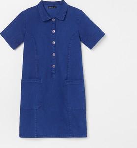 Niebieska sukienka dziewczęca Reserved z jeansu