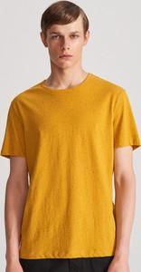 Żółty t-shirt Reserved z krótkim rękawem