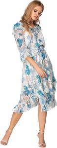 Sukienka Ptakmoda.com z tiulu z okrągłym dekoltem z długim rękawem