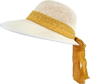 Jk collection kapelusz letni. - biały || żółty