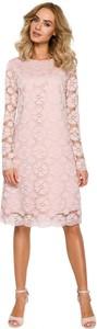 Różowa sukienka MOE trapezowa z okrągłym dekoltem