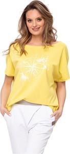 Żółty t-shirt Look made with love z krótkim rękawem z okrągłym dekoltem