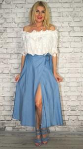 Niebieska spódnica Made in Italy maxi z jeansu