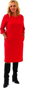Czerwona sukienka Roxana - sukienki z długim rękawem